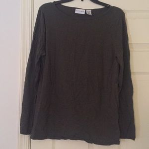 Jaclyn Smith olive green long sleeve top